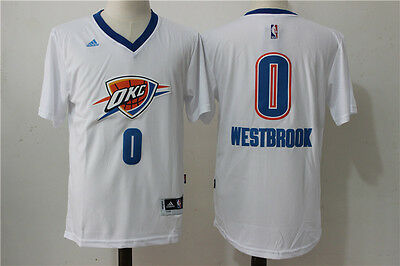Oklahoma City Thunder #0 Russell Westbrook White Basketball sleeve Jersey