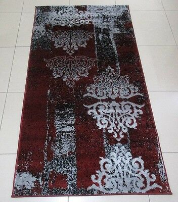 New Red/black/grey Modern Heatset Floor Hallway Runner Rug 80X150Cm