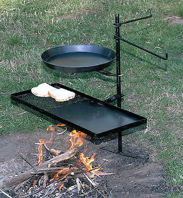 Hillbilly campfire firepit swing over away BBQ Stand KIT2 in canvas bag. Steel
