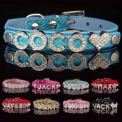 DIY Name PU Leather Personalized Collar Pet Puppy Dog Cat Bling Rhinestone