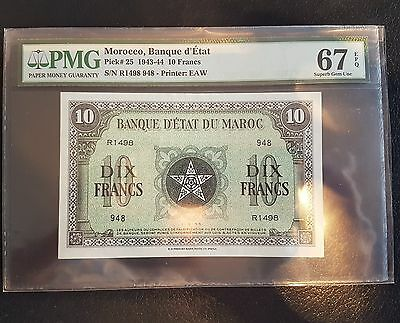 French Morocco PMG 67 Pick#25 1943-44 10 Francs EPQ Just 1 exists in this grade
