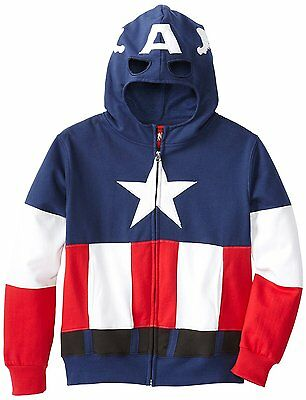 MARVEL CAPTAIN AMERICA Kids Mask Hoodie Jacket Zip Up X-SMALL **NEW**