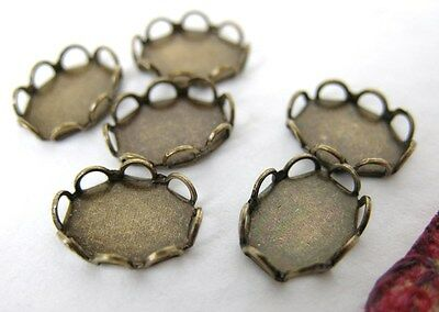 Cameo Settings Lace Edge Filigree Antiqued Brass Ox 8x6mm Cabochons