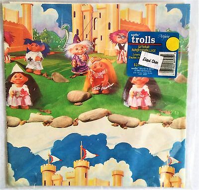 Vintage 1992 Trolls Giftwrap Norfin Artfaire Pack of 2 Sheets 8.3 Sq. Ft.