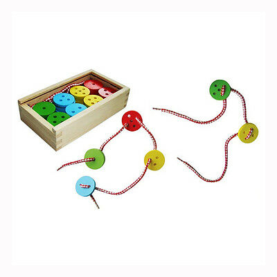 Wooden Lacing Button 40 pcs Threading Play Set Children Learning Toy