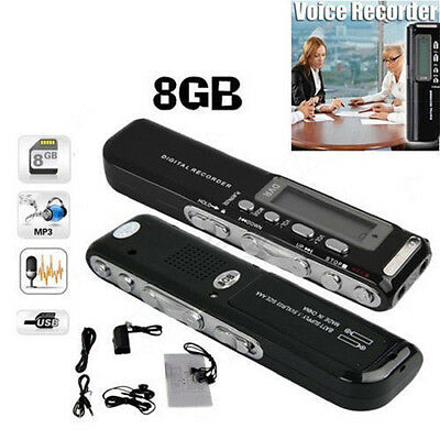 Latest 8GB USB LCD Screen Digital Audio Voice Recorder Dictaphone MP3 Player Kit