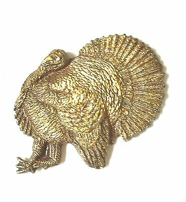 Vintage Sculpted Thanksgiving Turkey with Fanned Tail Feathers B Metal badge