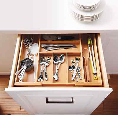 Bamboo Expandable Kitchen Cutlery Tray Utensil Drawer Organizer Flatware Storage