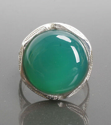 Stunning Silver & Green Agate TuaregTouareg Ring with Gift Box African Jewellery
