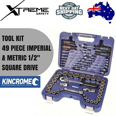 Kincrome Socket Set Spanner Wrench 49 Piece Imperial & Metric 1/2″ Square Drive