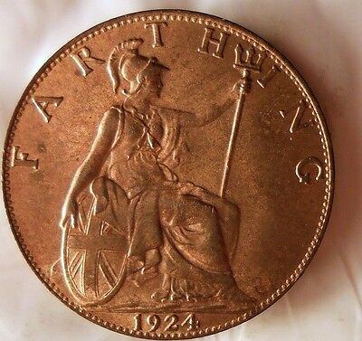 1924 GREAT BRITAIN FARTHING - AU Tons of Red - FREE SHIP WORLDWIDE - HV20
