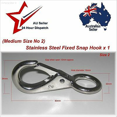 "3"" 304 Stainless Steel Clip Hook Fixed Eye  camping rope cord joiner boating"