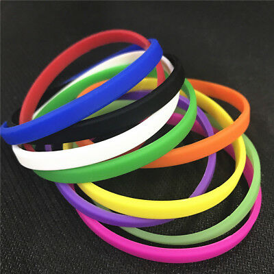 GOGO 100PCS Thin Silicone Wristbands, Sports Fitness Rubber Bracelets Bulk Sale