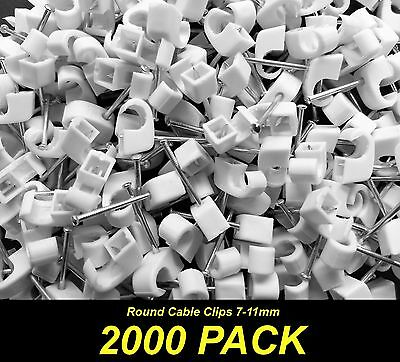 Bulk 2000 x White Cable Fastener Clips with Nail - Round 7-11mm