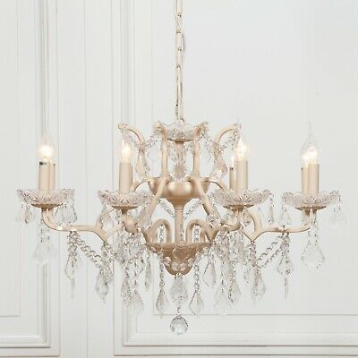French Style Large Peach Cream 8 Arm Branch French Shallow Cut Glass Chandelier