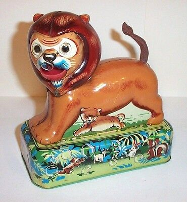 MINT 1950's MECHANICAL WIND-UP BUBBLE BLOWING LION TIN LITHO CIRCUS TOY JAPAN