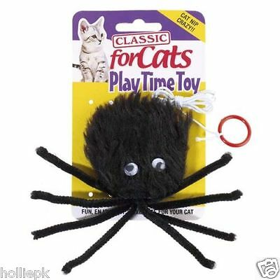 Classic Soft Bungee Fluffy Spider Cat Kitten Toy On Elastic & Cat Nip