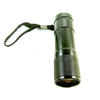 9LED Red Light Waterproof Flashlight Torch Astronomy Night Vision Camping Black