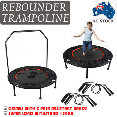 Foldable 40 Inch Mini Handrail Trampoline Cardio Rebounder Workout Exercise Gym