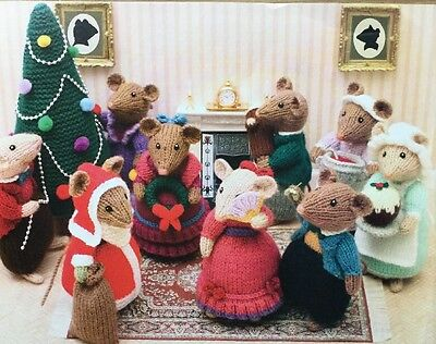 Dickensian Mice at Christmas toy knitting pattern by ALAN DART