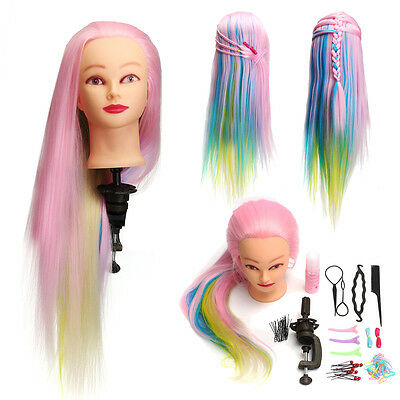 "28"" Salon Hairdressing Colorful Long Hair Mannequin Doll Training Head + Clamp"