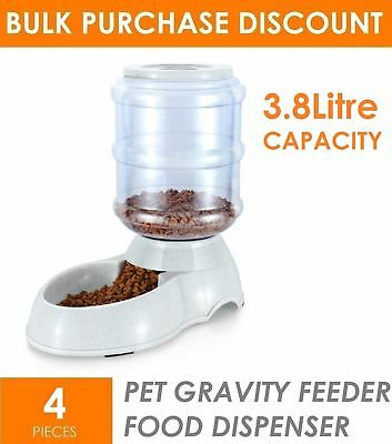 4 x 3.8L Automatic Pet Dog Cat Gravity Food Dispenser Station Feeding Bowl Dish