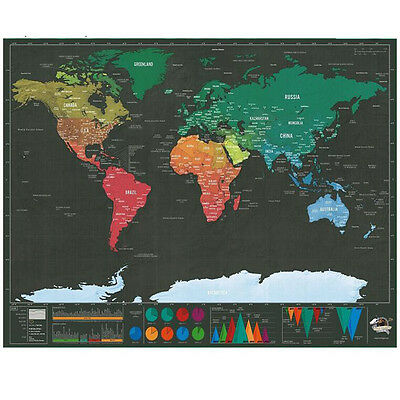 Deluxe Scratch Map Personalized Travel Scratch Off World Map Poster Sticker