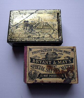 Antique Bryant & May Matchbox & Tinplate 'jappaned' Holder Bow London Phillumeny