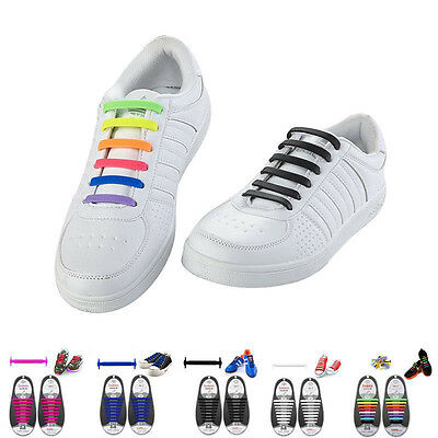 16Pcs Unisex Adult Kids Lazy No Tie Shoelaces Elastic Shoe Fit Sneakers
