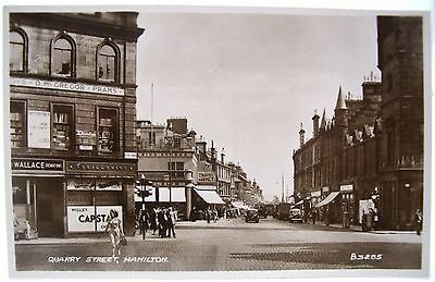 QUARRY STREET HAMILTON VINTAGE REAL PHOTO POSTCARD 1950's LANARKSHIRE SCOTLAND