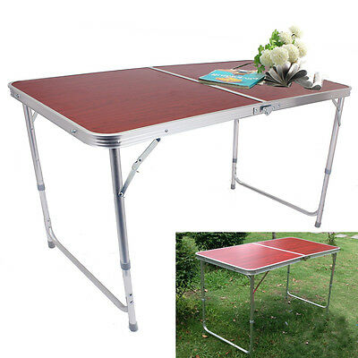 RED 4FT Adjustable Folding Table Garden Camping BBQ Picnic Party Outdoor