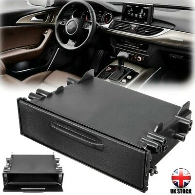 Car Single Din Radio Pocket Storage Drawer Draw Box Holder Auto Universal Black