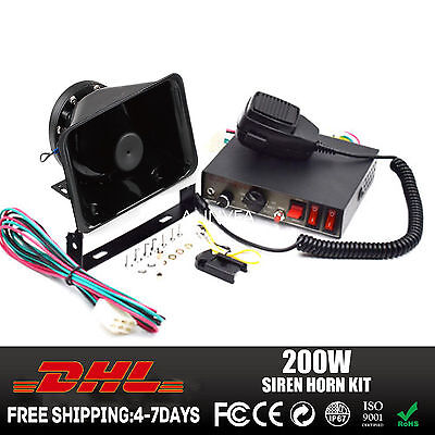 200W G1 Siren Mic System CJB Vehicle Warning Horn Siren Kit with PA Loud Speaker