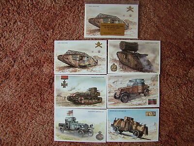 TANKS AND ARMOURED CARS OF THE BRITISH ARMY.  6 card set.  Mint Condition