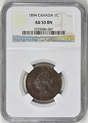 1894 Canadian One Cent NGC AU53 Thick Large 4?