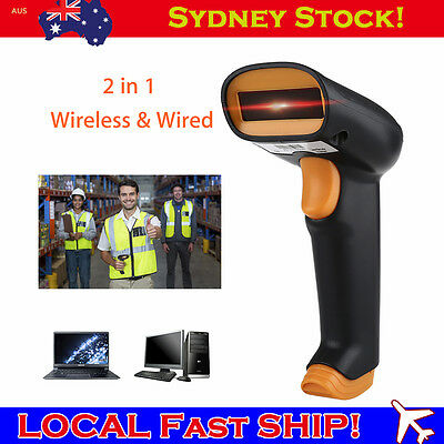 2.4Ghz Wireless Cordless Laser Barcode Scanner USB Charging + Case For Windows