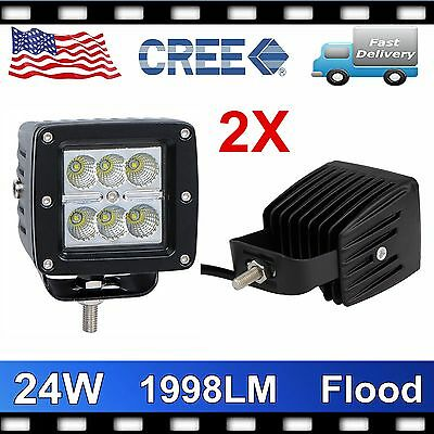 2X 3'' 24W CREE LED Work Light Flood Beam Cube Pod Offroad 4WD Driving Truck ETY
