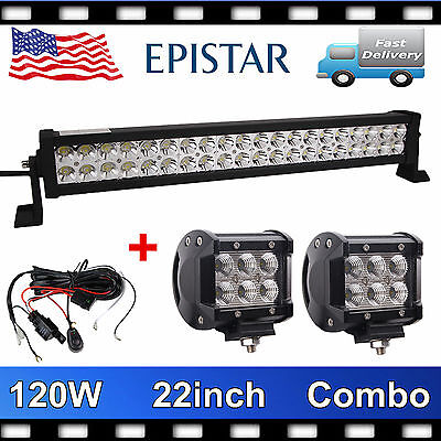 """22inch 120w Led Work Light Bar Combo+ 4"""" Pods 18W CREE FLOOD Offroad+Wiring REY"""