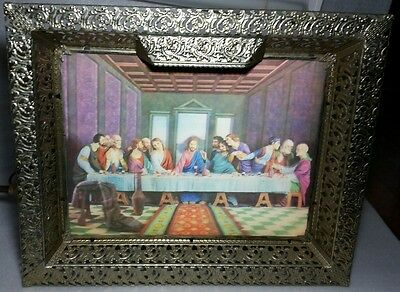 VINTAGE 1950s RELIGIOUS LIGHTED GOLD FRAME THE LAST SUPPER JESUS PICTURE