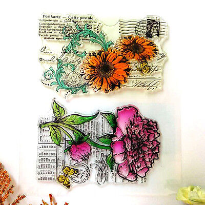 Flower Silicone Clear Rubber Stamp Sheet Cling Scrapbooking Cards DIY Decor
