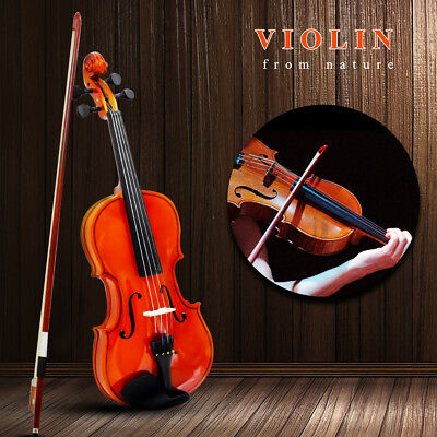 UK 4/4 Full Size Natural Acoustic Violin Fiddle With Carrying Case + Bow + Rosin