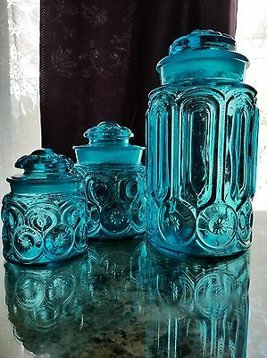 Vintage Blue Moon and Star Glass 3 Canister Set,  L. E. Smith