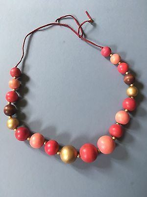 Vintage, retro chunky wooden bead necklace 1960s ? pink & gold