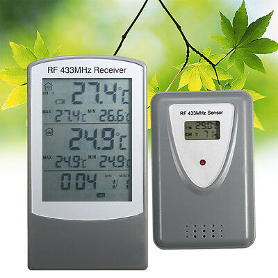 Digital LCD Wireless Indoor Outdoor Temperature Thermometer Transmitter Receiver