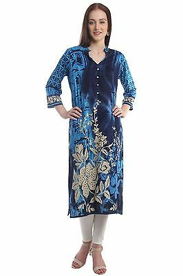 Indian Bollywood Designer New Lagi Blue Printed Gold Foil Flower Rayon Kurti