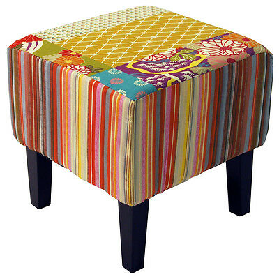 Shabby Chic Square Pouffe Stool /Wood Legs - Multi-coloured OCH3535