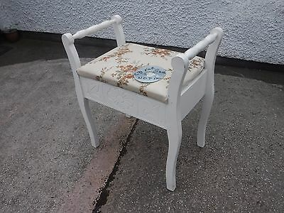Vintage  Painted   Piano / Dressing Table  Stool. Carved Front.