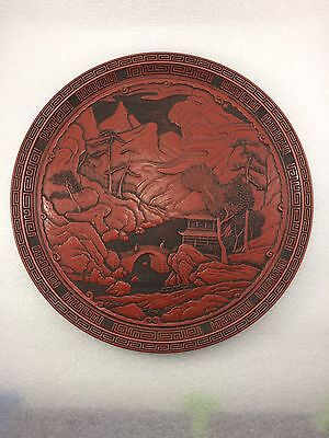 B26  Asian Japanese Chinese CINNABAR Tray DISH/PLATE LACQUER Landscape