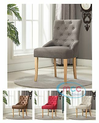 Linen Fabric Accent Chair Dining Chair Scoop Back For Home & Restaurants