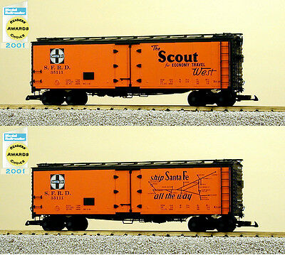 """USA Trains G Scale 16504 40' REFRIGERATOR CAR Santa Fe """"Scout"""" with Map"""